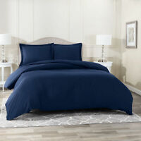 Duvet Cover Set Soft Brushed Comforter Cover W/Pillow Sham, Navy - Full