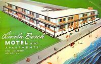 Atlantic City New Jersey 1960 Postcard Lincoln Beach Motel & Apartments