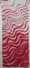 TERRIART Cherry, White Wavy Stripes Silky 58x12 Long Scarf-Vintage
