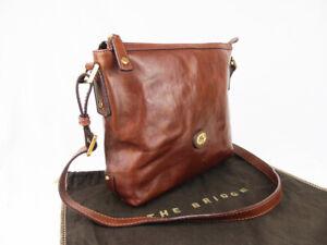 THE BRIDGE  brown leather zip tote shoulder crossbody bag