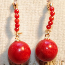 PETITE UNDYED 14k GF OX RED BLOOD SARDINA & SOUTH SEA RED CORAL BALL EARRINGS
