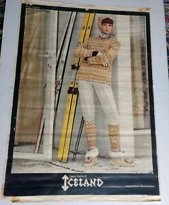 Vintage Early 60s Iceland Hans Heitsch Ski Travel Poster Kneissl White Star Skis