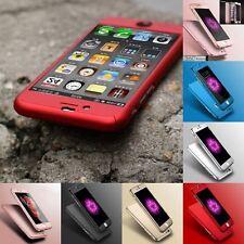 360° Full Body Luxury Hybrid Hard Case Cover+Tempered Glass For iPhone 7 6 5 SE