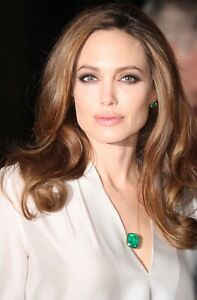 ANGELINA JOLIE 100% NATURAL EMERALD NECKLACE PENDANT 14K GOLD OVER 925 HOLLYWOOD