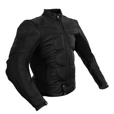 VINTAGE BATMAN STYLE ALL BLACK - RACING BIKERS REAL LEATHER JACKET WITH HUMP