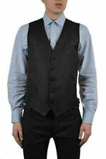 Dolce & Gabbana Men's Black Wool Silk Button Down Vest US 38 IT 48