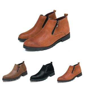 Mens Zipper Casual Ankle Boot Leather Pointy Toe Work High Top Pumps Shoes Chic
