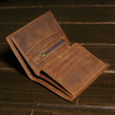 Handmade Mens Vintage Leather Trifold ID Wallet Short Coin Purse