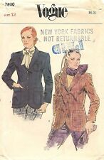 Vintage 1970's Vogue Sewing Pattern # 7800 Misses' Semi-Fitted Jacket Size 12