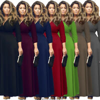 Plus Women V-Neck Maxi Dress Bodycon Evening Party Formal Casual Soild Dresses