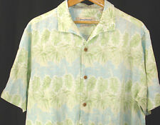 TOMMY BAHAMA 100% Linen Camp Shirt Sz L White Green Blue Tropical Aloha Hawaiian