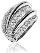 Pave Diamond Band 1.85ct F VS Chunky Wedding Ring 15mm Wide in 18ct White Gold