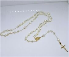 14K Solid Gold  Rosary Necklace /w White Pearl by estherleejewel