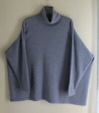 NEW Eskandar O/S BLUE-GRAY Boxy 100% Cashmere Plush Luxury Turtleneck Sweater