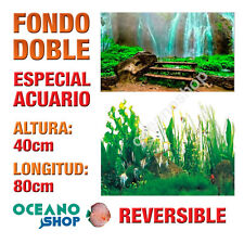 FONDO 80x40cm DOBLE CARA REVERSIBLE DECORATIVO ACUARIO CASCADA Y PLANTAS D412