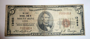 National Banknote Currency Series 1929 MOUNT OLIVE Illinois #13452 $5 Note