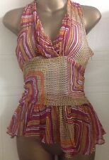 Karen Millen 60s Print Geometric Asymmetrical Hem Silk Blouse Shell Top 8 32