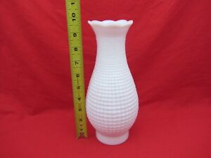 """VTG ANTIQUE OIL LAMP MILK WHITE GLASS HOBNAIL CHIMNEY 10""""X3"""" RUFFLED FLARED TOP"""