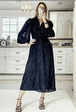 Zara Womens Black Metallic Thread Long Shirt Dress Size L BNWT