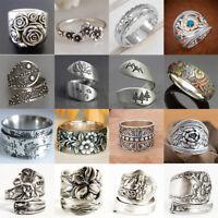 Vintage Women 925 Silver Handmade Carved Rose Flower Ring Bride Wedding Jewelry