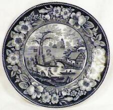 Antique Transferware Plate Canal Bridge Cottage Black V&B Wallerfangen Villeroy