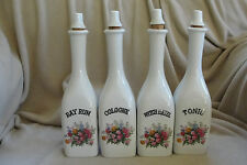 Set of 4 Antique Milk Glass Barber Bottles with original Stoppers