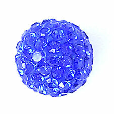 10 Sapphire Rhinestone clay pave 12mm beads for Shamballa Bracelets