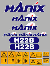 Hanix h22b Escavatore COMPLETO ADESIVO DECALCOMANIA Set con Safety AVVERTIMENTO