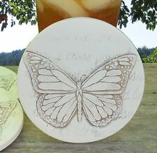 Clay Drink Coasters, BUTTERFLY Absorbent Drink Coasters Set of 4