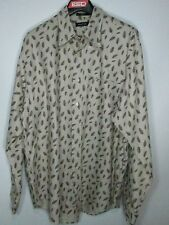 MEN'S; NAUTICA; TAN; LONG SLEEVED; BUTTON UP; SZ: L W/ A LEAF PATTERN;-LIKE NEW!