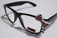 Fashion Women way Rhinestone Black White Bowtie Hello Kitty Glasses Clear Lens