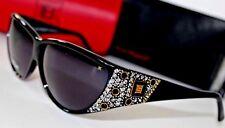 New LAURA BIAGIOTTI Black Rhinestone BLING Sunglasses 80's VINTAGE~2 Cases ITALY