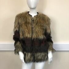 River Island Ladies Brown Beige Faux Fur Thick Warm Jacket Coat UK Size 10