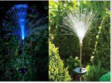 FIBRE OPTIC SOLAR POWERED LIGHTS GARDEN COLOUR OUTDOOR LED LAMP XMAS GIFT NEW