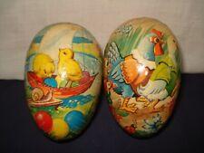 2 Vtg West Germany Paper Mache Easter Eggs Chicks Rooster Duck W/Chicks Inside