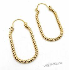 Gold Oval Hoop Earrings, Dainty Drop Twisted Earrings Bridesmaid Jewelry