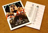 Crystal Palace v Newcastle United Matchday Programme 22/2/20!!!