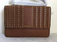 NWT MICHAEL KORS Brooklyn Grommet Large Leather Crossbody Bag Purse $298 Caramel
