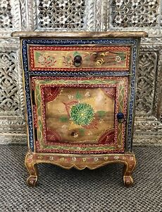 Hand Painted Bedside Cabinet Solid Mango Wood Indian Bedroom Furniture New