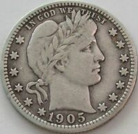 1905 Barber Quarter in a SAFLIP® - VF- (Fine+)