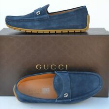 GUCCI New sz 11.5 G - US 12 Authentic Designer Mens Drivers Loafers Shoes blue