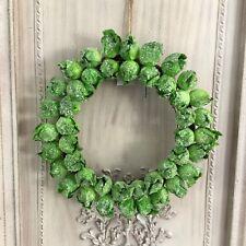 Christmas Sprout Door Wreath Glitter Green Gisela Graham Decoration Wall Novelty