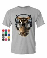 Freaky Tiger T-Shirt Music Headphones Glasses Animal DJ Party Mens Tee Shirt