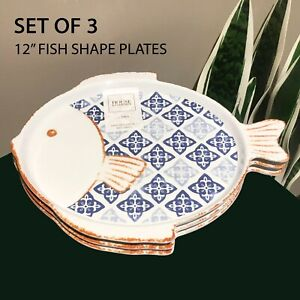 "SET OF 3 Home & GARDEN Fishs Shaped Melamine Plates 12"" Serving Tray White Blue"