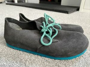 BIRKENSTOCK WOMENS GREY SUEDE LACE UP SHOES SIZE 6 39 WORN ONCE