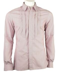 Karl Lagerfeld front pleated pin stripe shirt red