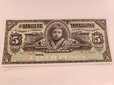 Mexico, Banco de Tamaulipas ND (1902-14) Cinco Pesos Crisp Clean Uncirculated