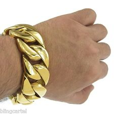 "Mens Huge 30MM Curb Cuban Gold Finish Heavy 316L Stainless Steel 8.5"" Bracelet"