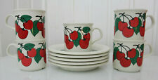 5 PCS Arabia Finland Kirsikka Mocca Cups + Saucers
