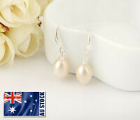 New 18K White Gold Filled Genuine Freshwater Pearl Drop Stud Earrings Wedding